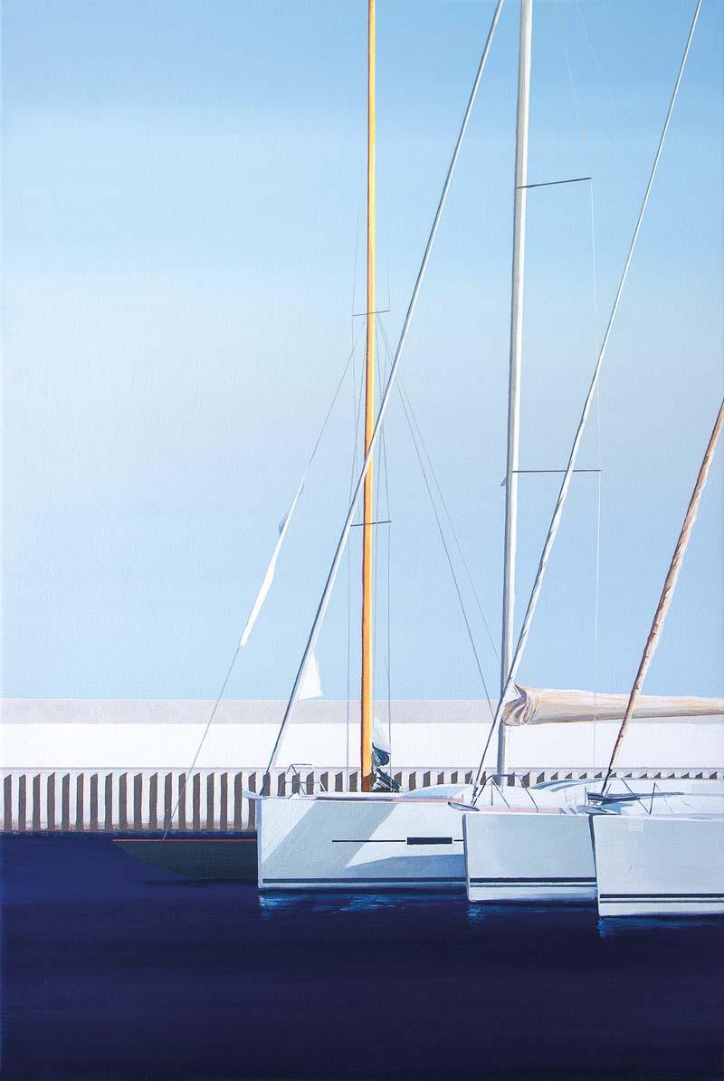 Tomasz Kołodziejczyk, Jachty, akryl na płótnie, 90 x 60 cm