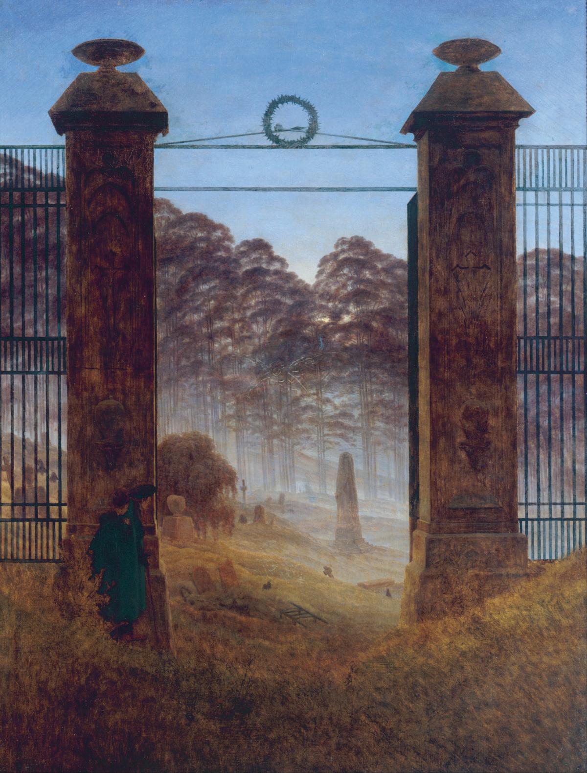 Caspar David Friedrich, Brama cmentarna, 1825, olej na płótnie, Galeria Nowych Mistrzów w Dreźnie, d.p.