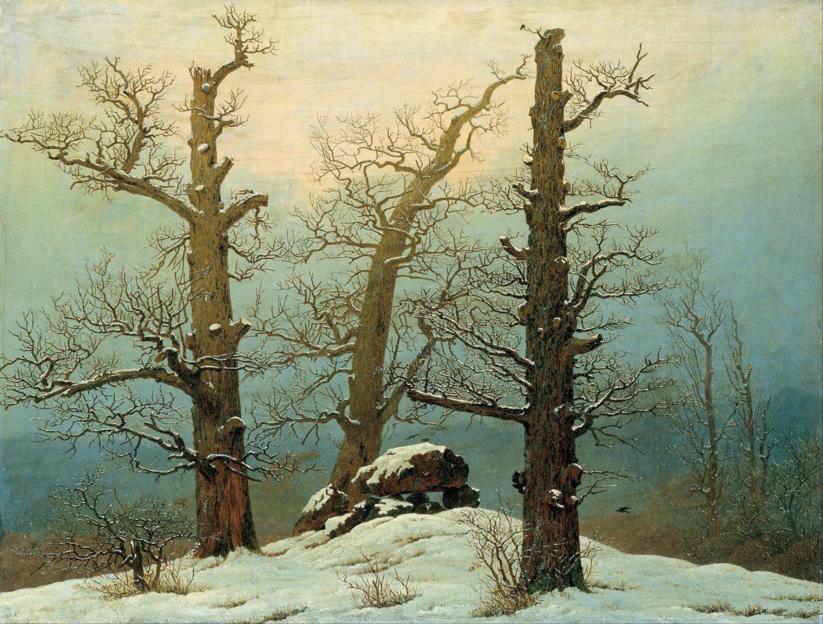 Caspar David Friedrich, Dolmen w śniegu, 1807, olej na płótnie, Galeria Nowych Mistrzów w Dreźnie, d.p.
