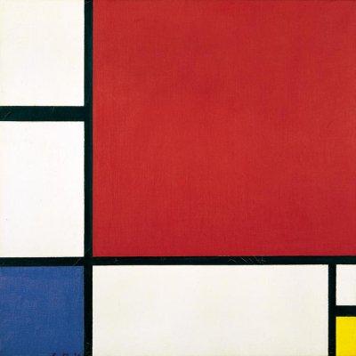 """Piet Mondrian, """"Kompozycja w czerwieni, błękicie i żółcieni"""", 1930, artysta i sztuka"""