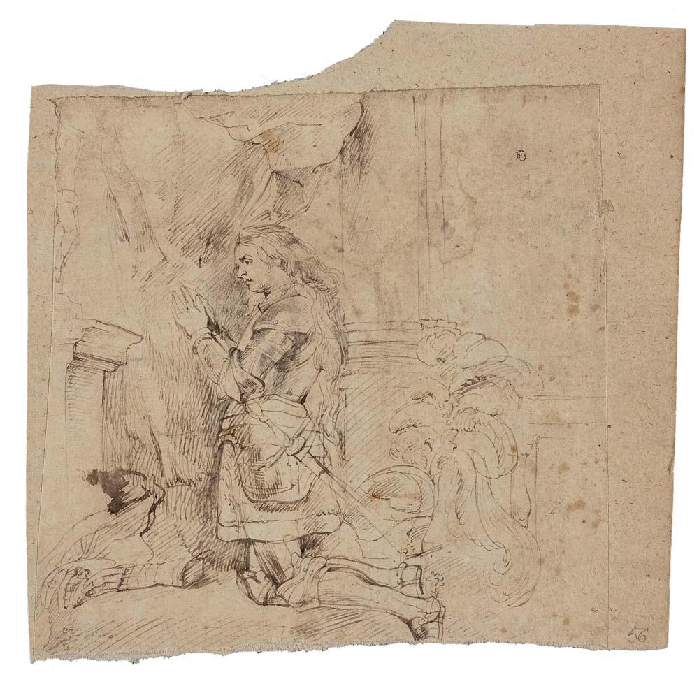Rubens, Peter Paul (1577-1640), Flandria, Joanna d'Arc; 1617-1620; pióro (w tonie sepii), lawowanie; papier, 18 x 18,4 cm