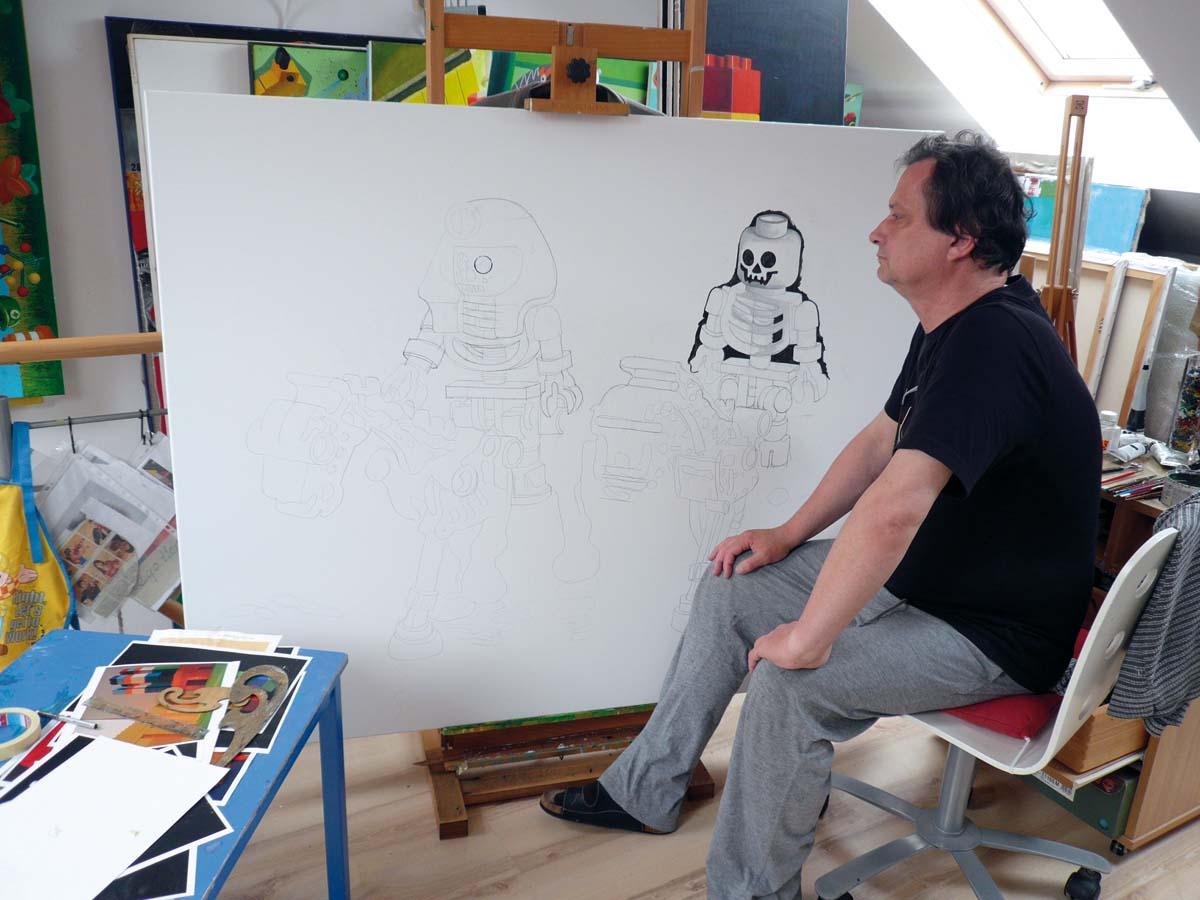 Zbigniew Gorlak obrazy, lego, kolaż, malarstwo, akryl, akryl na płótnie, malarz, malarstwo, w pracowni