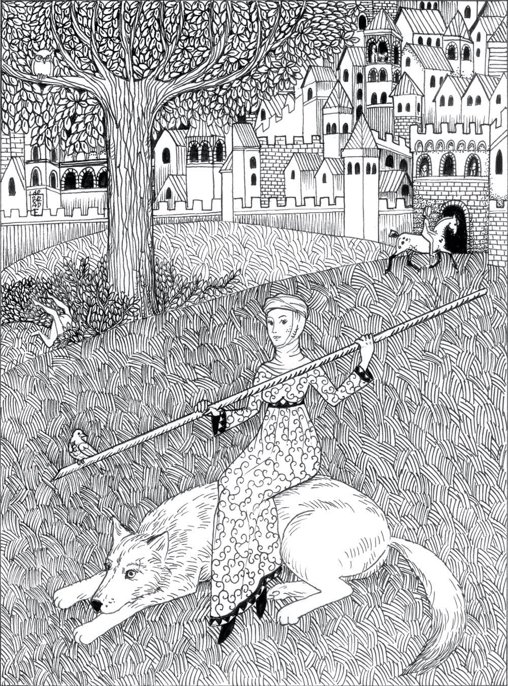 Malwina de Brade, Bez tytułu, tusz na papierze, 22,5 x 16,5 cm