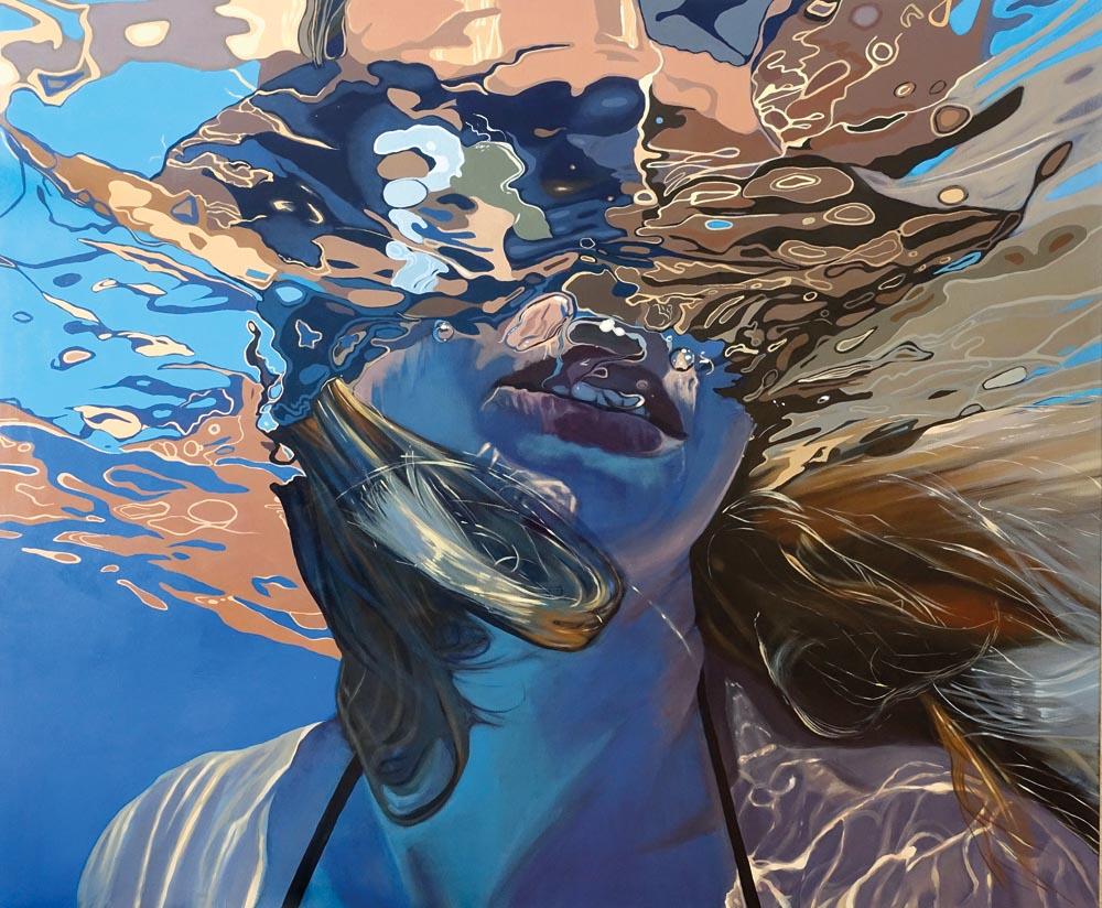 Aleksandra Hońko, Bez tytułu, obraz z cyklu Basen, akryl na płótnie, 100 x 120 cm