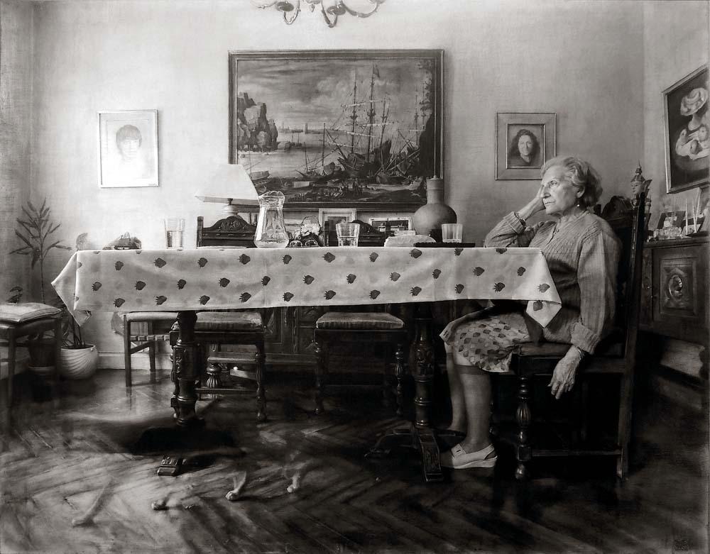 Fausto Martin, Po obiedzie, grafit na płycie, 114 x 146 cm