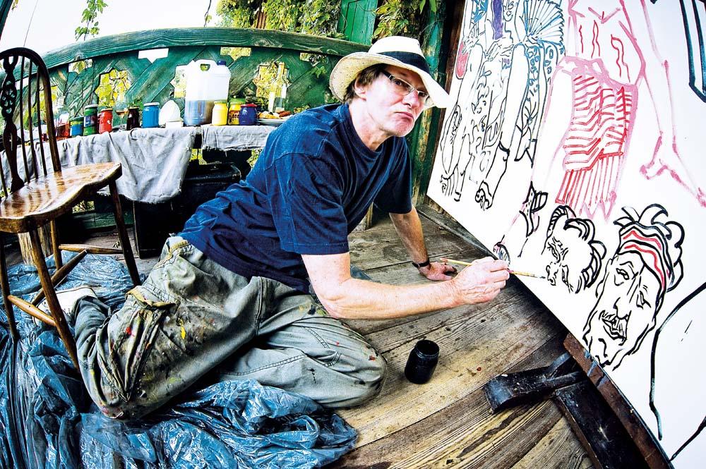 Andrzej Fogtt w trakcie pracy nad obrazem