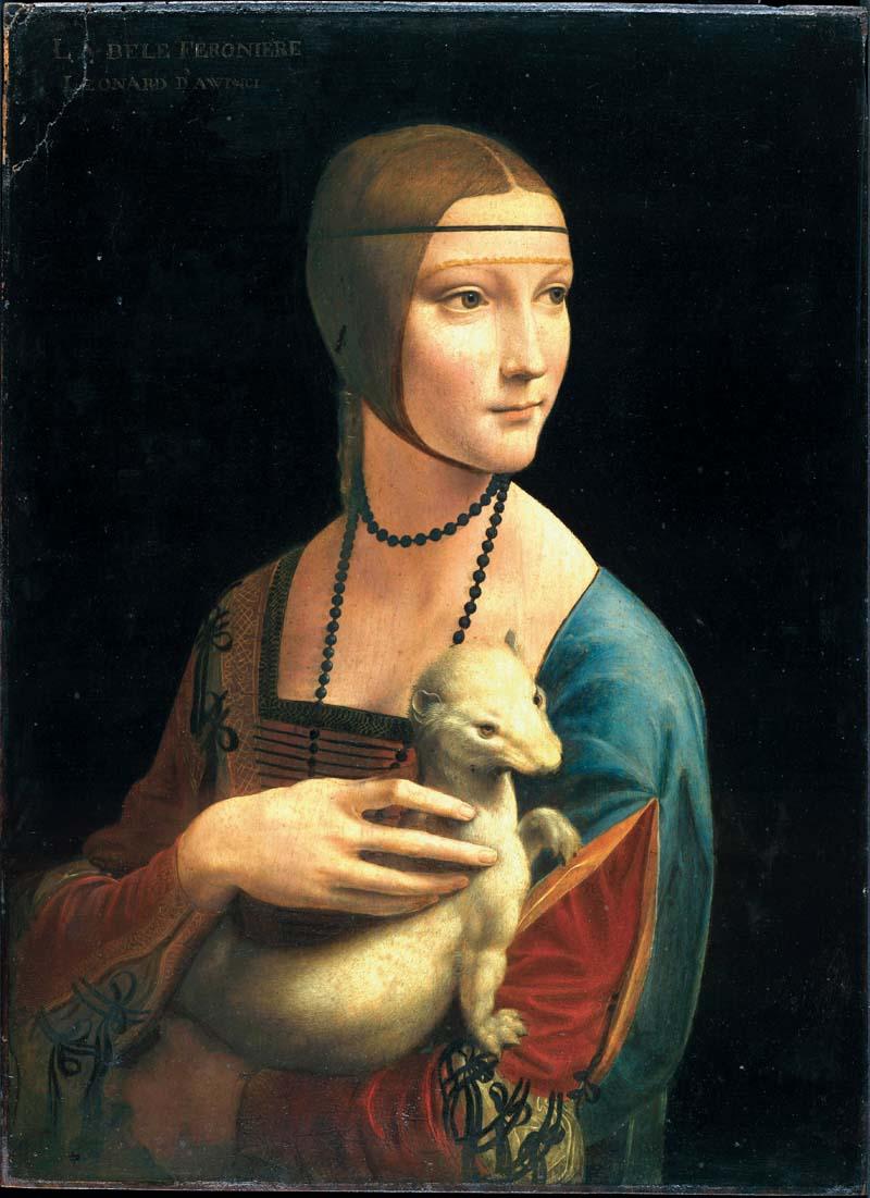 Leonardo da Vinci, Dama z gronostajem, 1483-1490, Muzeum Książąt Czartoryskich w Krakowie