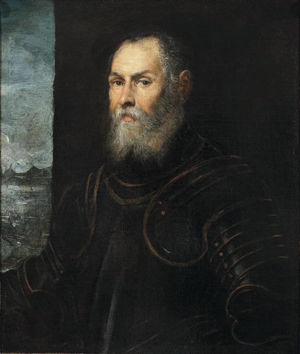 M.Ob.635; Tintoretto, Jacopo (1519-1594) (malarz); Wenecja (W³ochy); Portret weneckiego admira³a; XVI w.; olej; p³ótno; 81 x 68 [122 x 106]