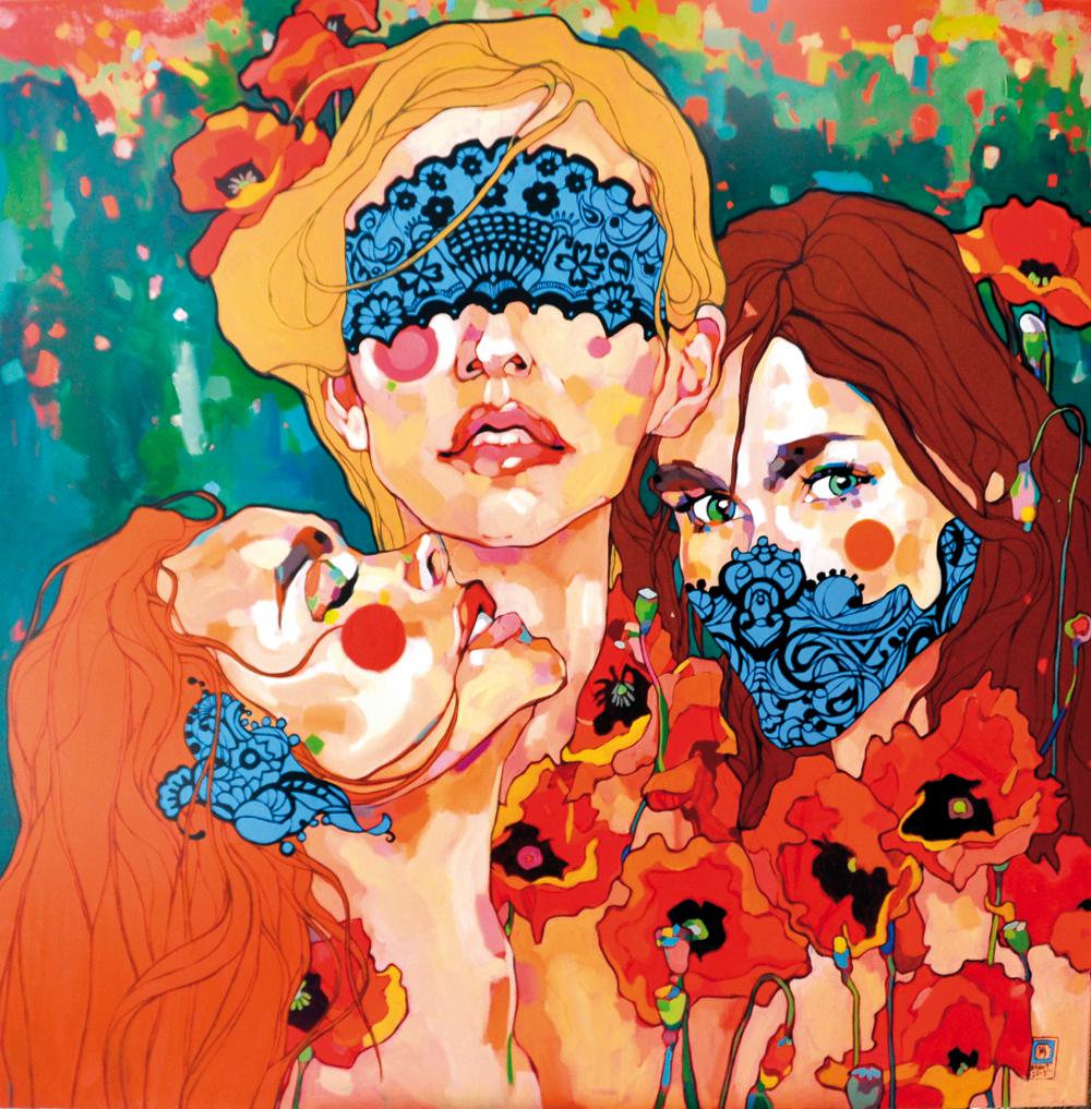 Dominik Jasiński, portret, portrait, kolorowe obrazy, obrazy akrylowe, nuede, akt kobiecy, malarstwo akrylowe, artysta i sztuka, kobieta na obrazie, kobiety