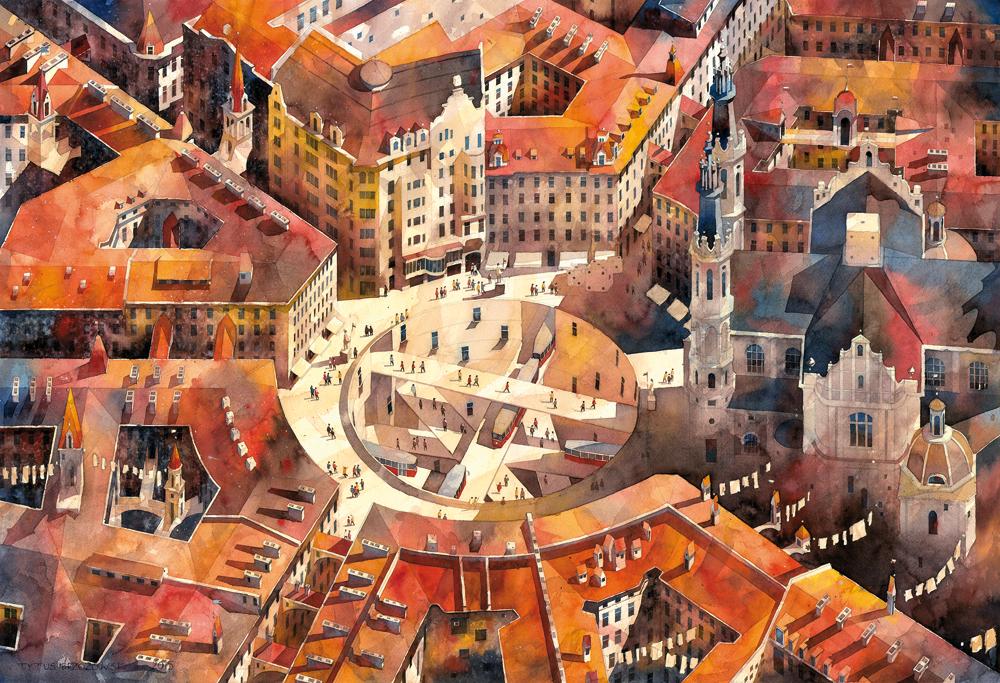 Tytus Brzozowski, akwarela, watercolor, architekt, watercolours, warszawa, obrazy warszawy, artysta i sztuka