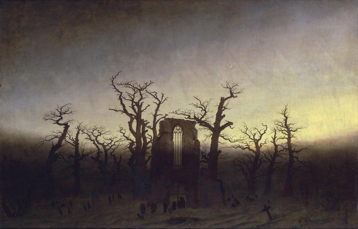 Caspar David Friedrich, Opactwo w Dąbrowie, olej na płótnie, Stara Galeria Narodowa w Berlinie, d.p.