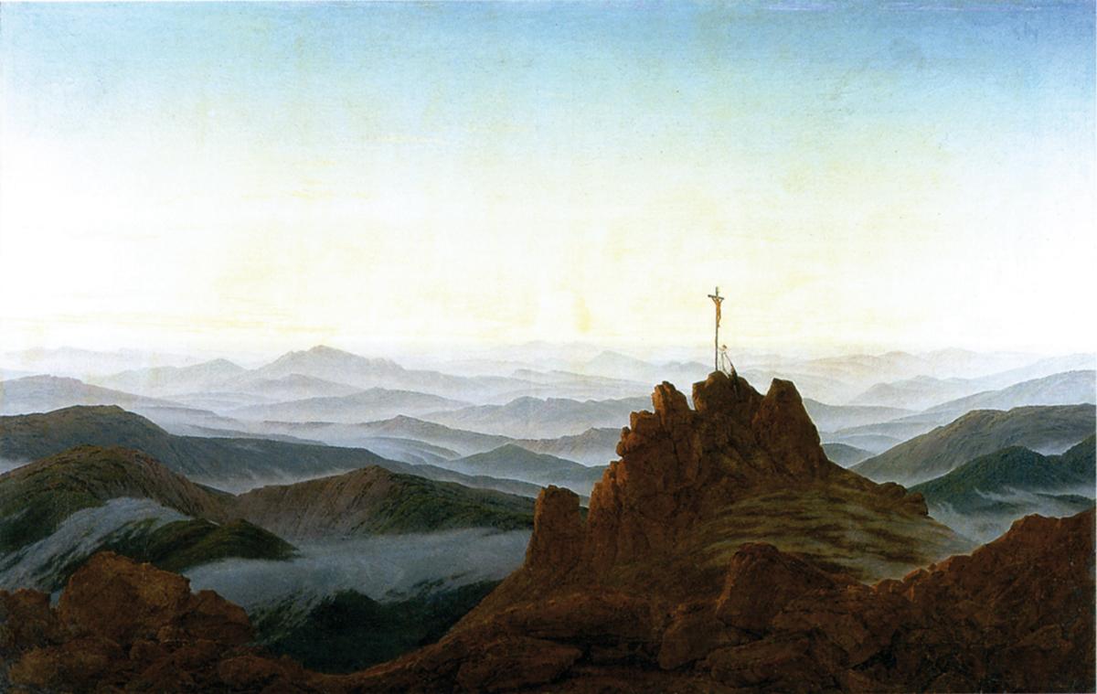 Caspar David Friedrich, Poranek w Karkonoszach, 1810-11, olej na płótnie, Stara Galeria Narodowa w Berlinie, d.p.