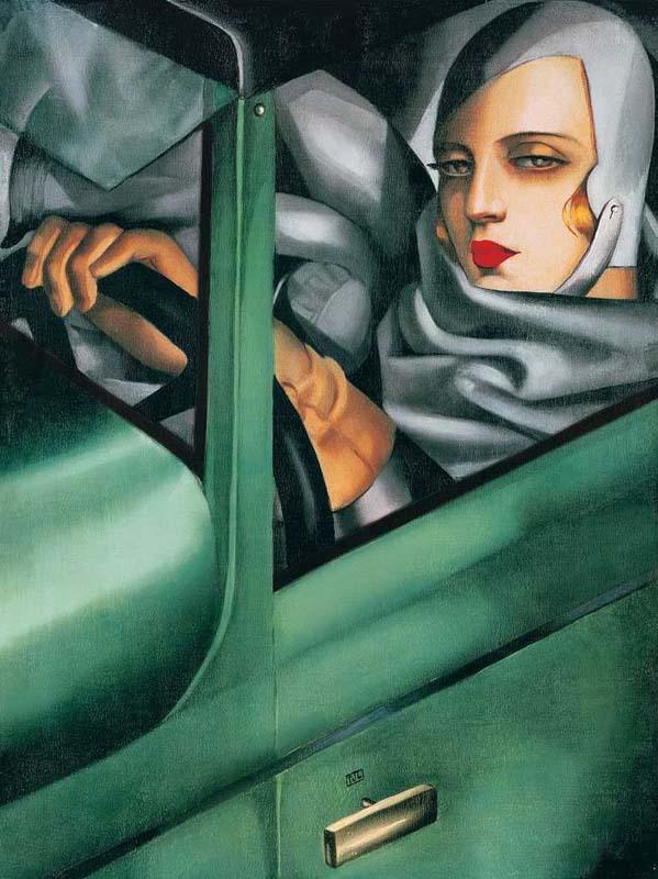 """Tamara Łempicka, """"Autoportret w zielonym Bugatti"""", 1925"""