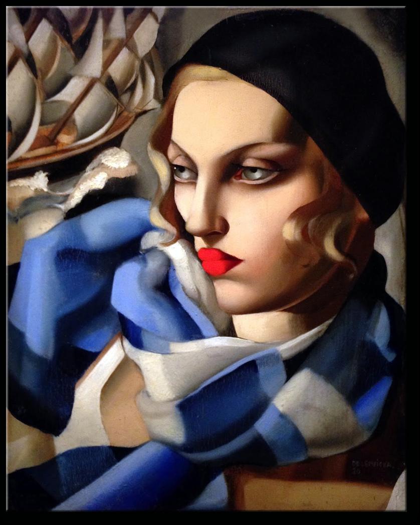 """<img src=""""adres obrazka"""" alt=""""Opis alternatywny"""" />Tamara Łempicka, """"Błękitny szalik"""", 1930"""