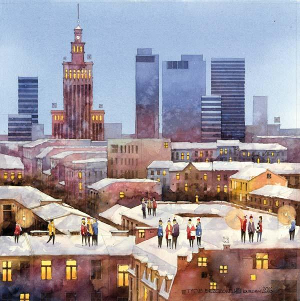 Tytus Brzozowski, Chmielna akwarela na papierze, 35 x 35 cmTytus Brzozowski, akwarela, obrazy warszawy, watercolor, architekt, Brzozowski, artysta i sztuka