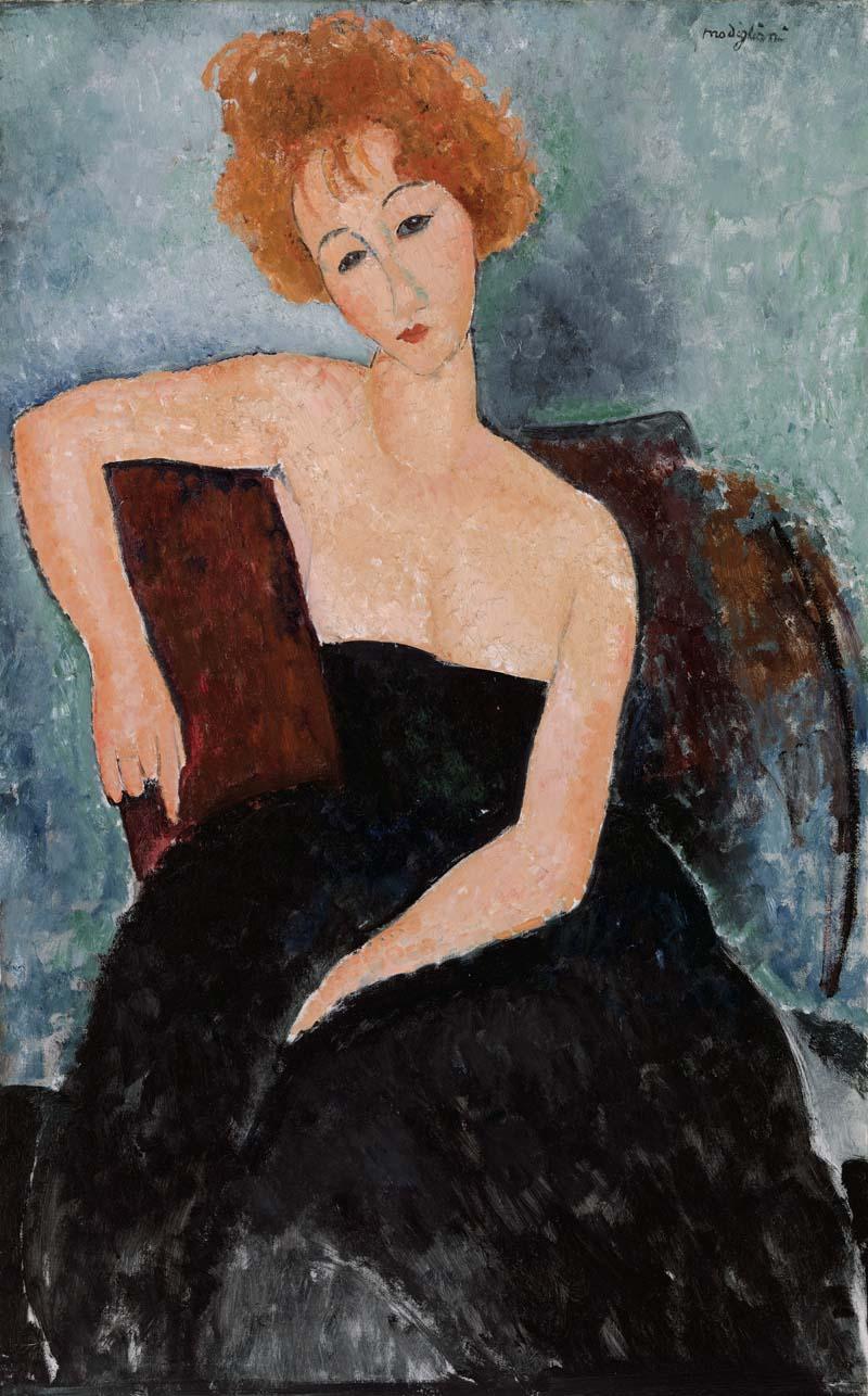 Amedeo Modigliani, 1884–1920. Rudowłosa dziewczyna w wieczorowej sukience (Jeune fille rousse en robe de soir), 1918. Olej na płótnie, 45 3/4 x 28 3/4 (116.2 x 73 cm). BF206. Zdjęcie: © 2012 The Barnes Foundation