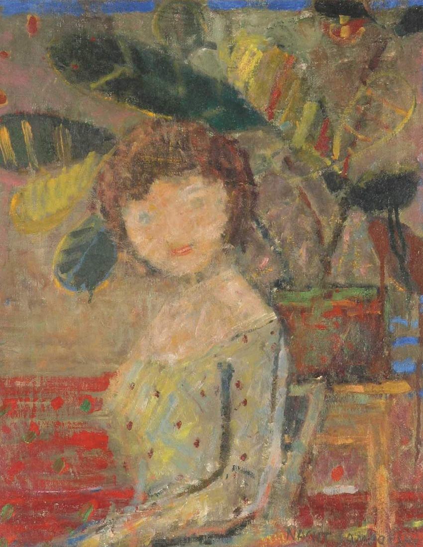 """Artur Nacht-Samborski, """"Dziewczynka wśród fikusów"""", 1958, źródło: DESA Unicum"""