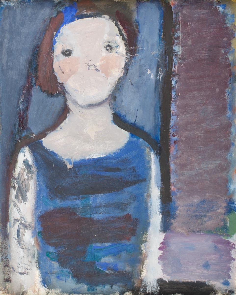 """Artur Nacht-Samborski, """"Popiersie kobiety w niebieskiej sukni"""", ok. 1962, źródło: DESA Unicum"""