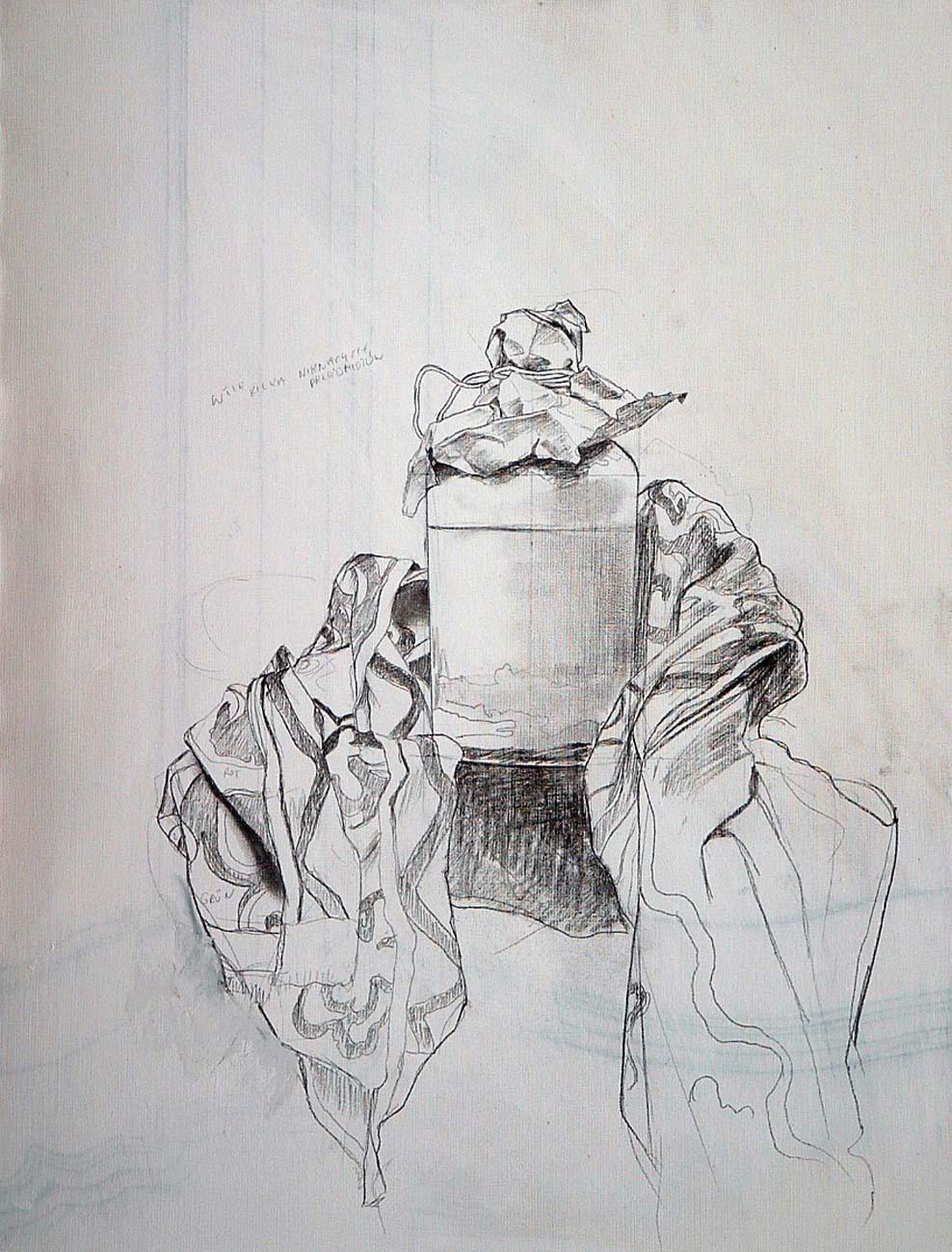 KROK 1 Wykonanie szkicu na podobraziu Wpatruję się w ustawione obok sztalugi przedmioty, będące trzonem kompozycji i wykonuję rysunek na płótnie, trzymając się wstępnej koncepcji obrazu.