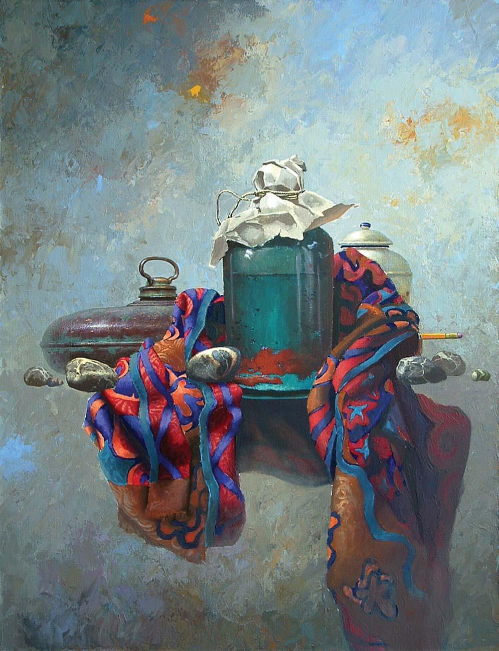 KROK 4 Określenie ostatecznej kolorystyki Wprowadzam pozostałe elementy kompozycji, malując je w dużym finałowym przybliżeniu. Obraz nabiera ostatecznych kształtów.