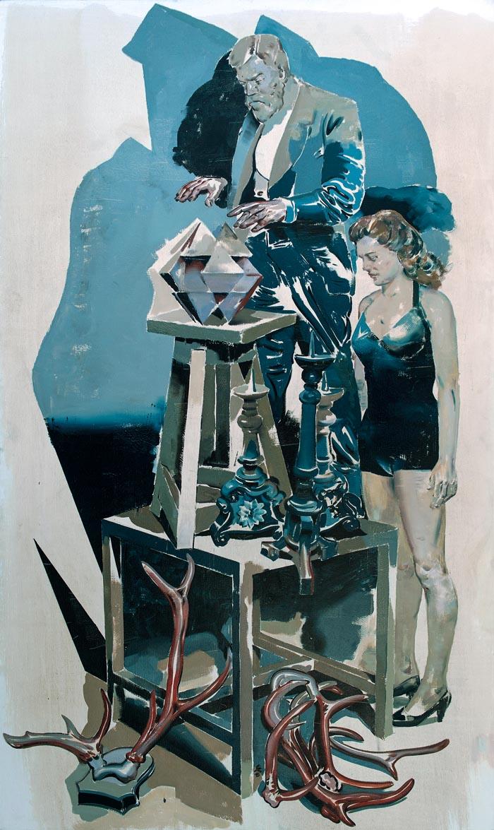 Jan Szczepkowski, Taumaturg, olej na płótnie, 200 x 120 cm