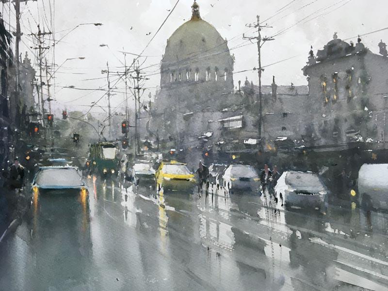 Joseph Zbukvic, Melbourne in rain, akwarela na papierze, 35 x 53 cm, 2016