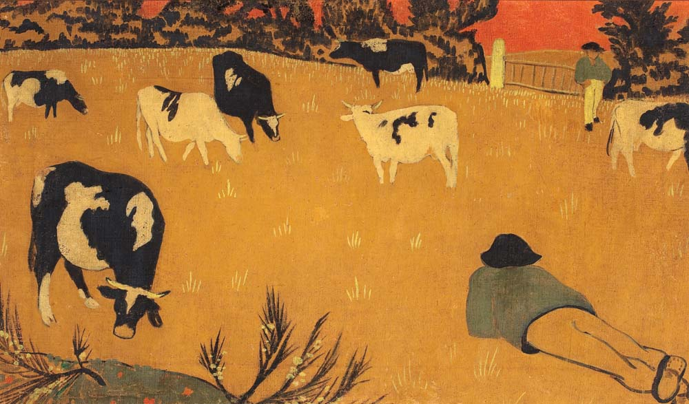 Paul Sérusier (1864-1927), Panneau bretońskie z krowami, 1894, gwasz i tempera na płótnie, 35 x 60 cm, ©Copyright by Krzysztof Wilczyński/Muzeum Narodowe w Warszawie