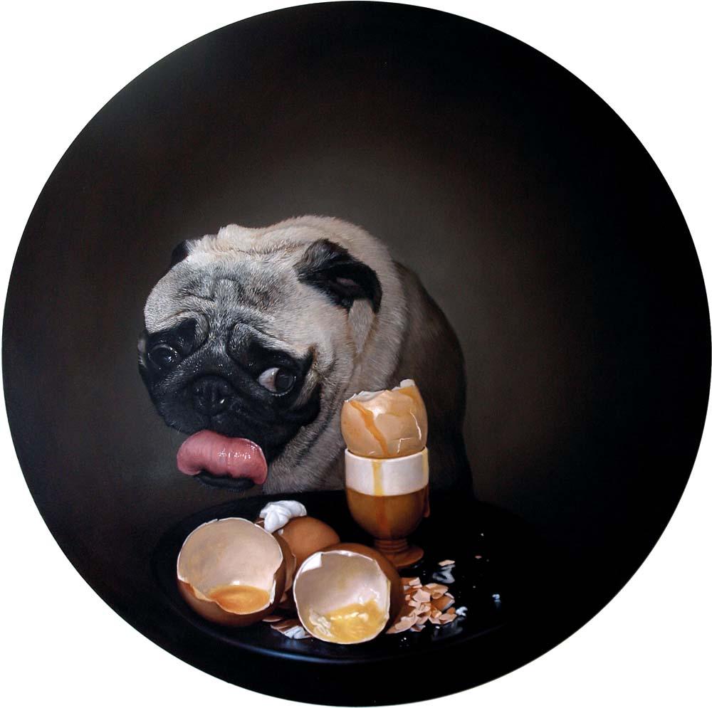 Tomasz Poznysz, Śniadanie u Yody, olej na płótnie, Φ=100 cm, 2014