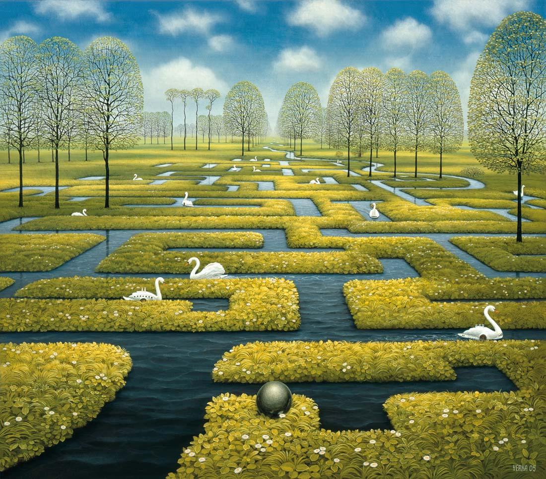 Jacek Yerka, Wiosenny labirynt, akryl na płótnie, 54 x 60 cm