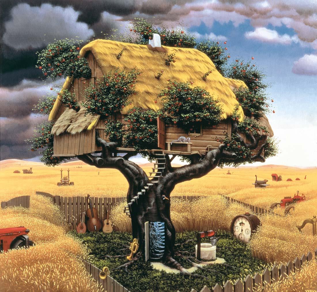 Jacek Yerka, obrazy, malarstwo, surrealizm, artysta isztuka, bajki
