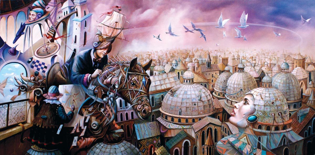 Tomasz Sętowski, Najazd fantazji, olej na płótnie, 90 x 150 cm