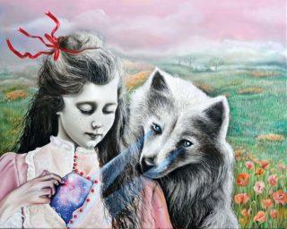 Marta Julia Piórko, Sekret, olej na płótnie, 80 x 100 cm, 2017 obrazy malarstwo galeria sztuki
