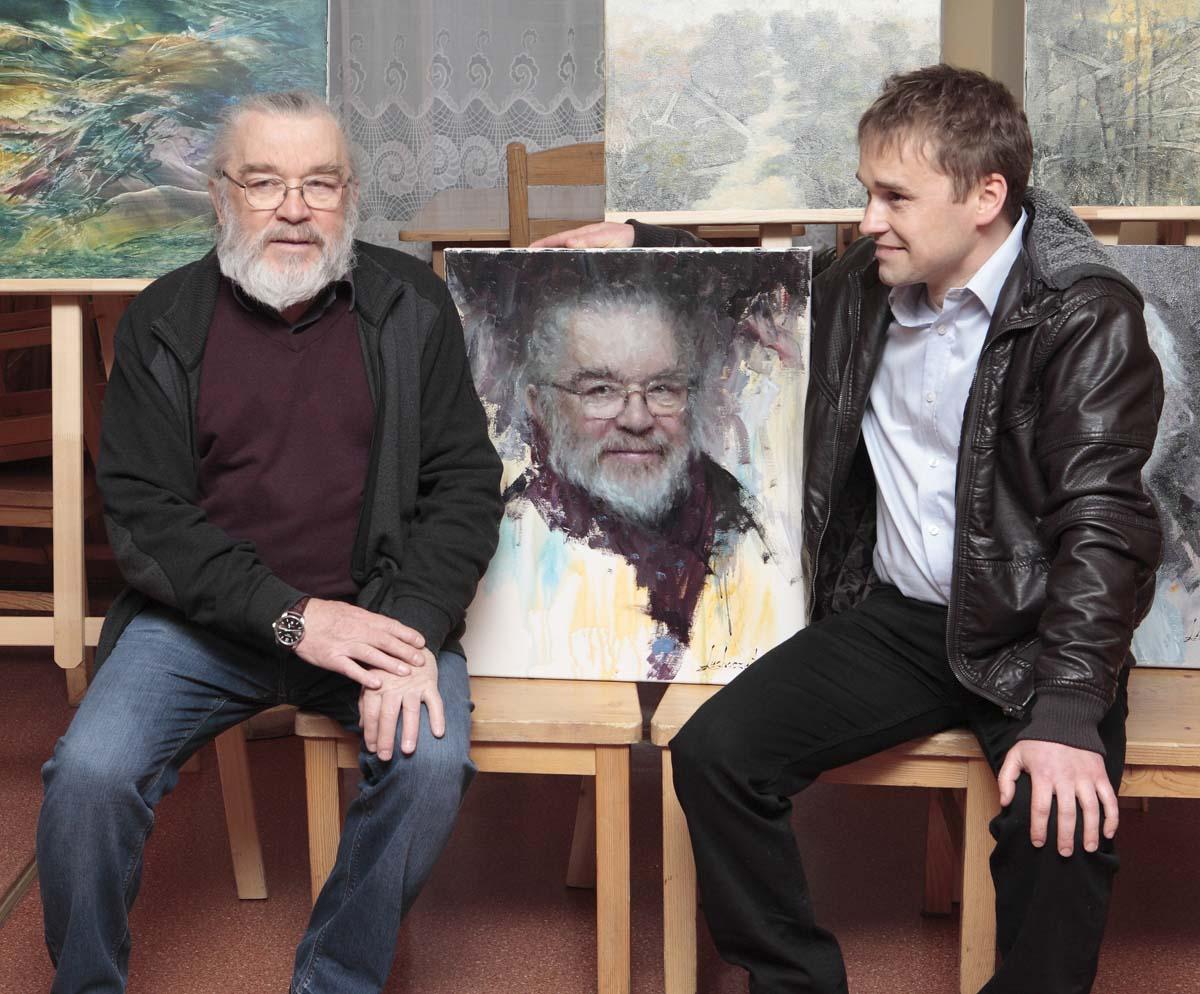 Damian Lechoszest z malarzem, Franciszkiem Maśluszczakiem portret, portret olejny