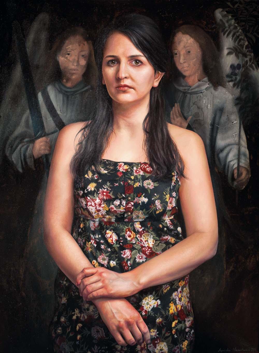 Agnieszka Nienartowicz, Miecz i gałązka oliwna, olej na płótnie, 80 x 60 cm