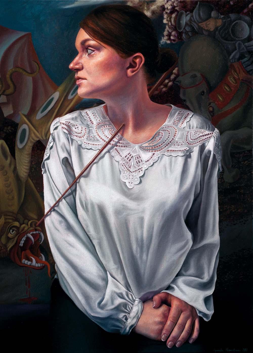 Agnieszka Nienartowicz, Killing the dragon, olej na płótnie, 70 x 50 cm