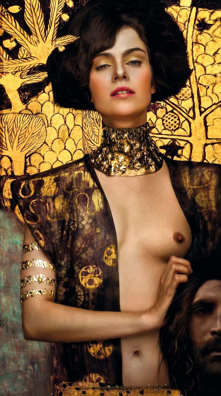 Sylwia Makris, Judyta z głową Holofernesa / Gustav Klimt, modelka: Nora Tschirner, 145 x 200 cm, fotodruk na płótnie, werniksy