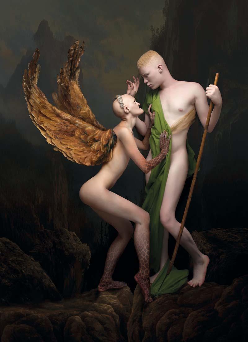 Sylwia Makris, Edyp i Sfinks / Gustave Moreau, modele: Melanie Gaydos i Shaun Ross, 145 x 200 cm, fotodruk na płótnie, werniksy