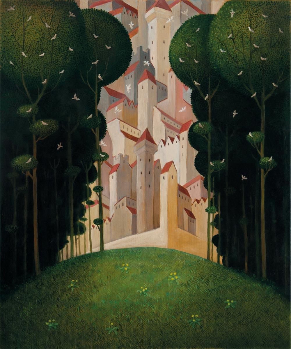 Malwina de Brade, Do Zamku, olej na płótnie,  60 x 50 cm
