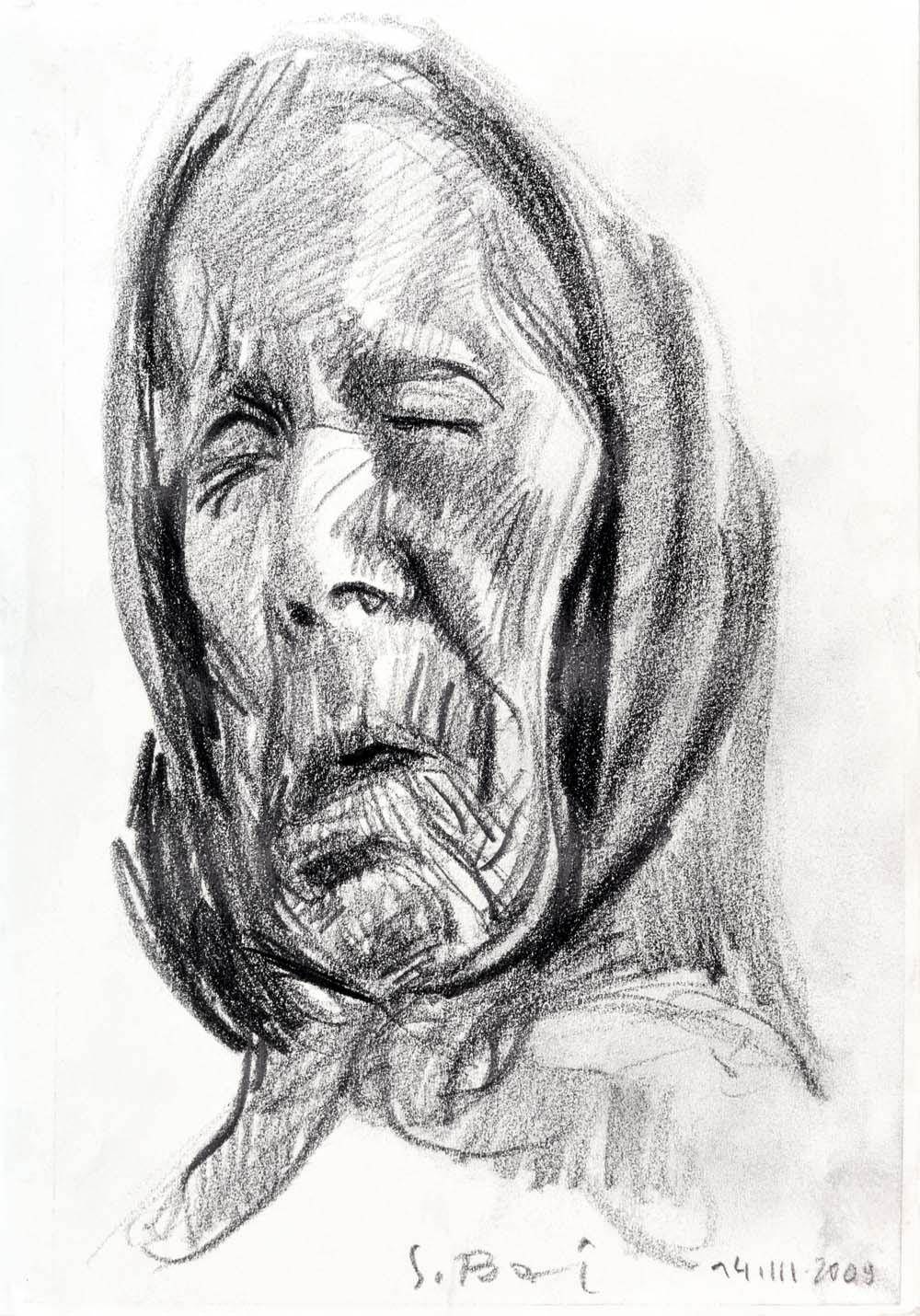 Stanisław Baj, Matka, rysunek ołówkiem na papierze, 29,5 X 21 cm, 2009
